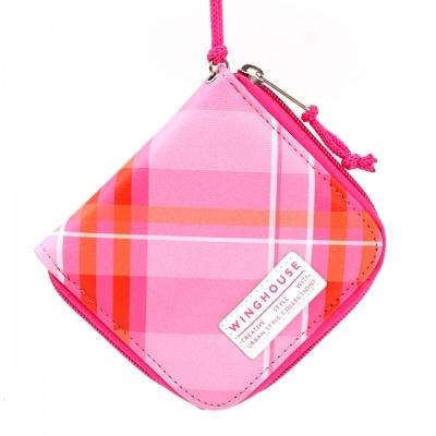윙하우스 핑크 체크 목걸이 지갑