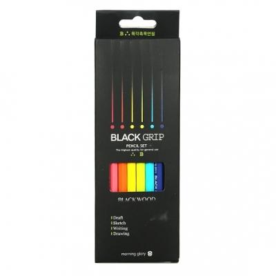 모닝글로리 블랙 그립 연필 (B) 6자루