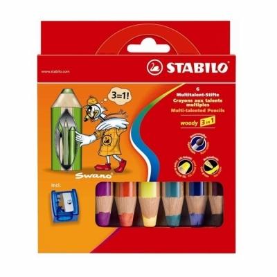 스타빌로 우디 3IN1 색연필 6색세트 (샤프너 포함)