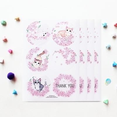 원형도무송스티커 - 벚꽃고양이