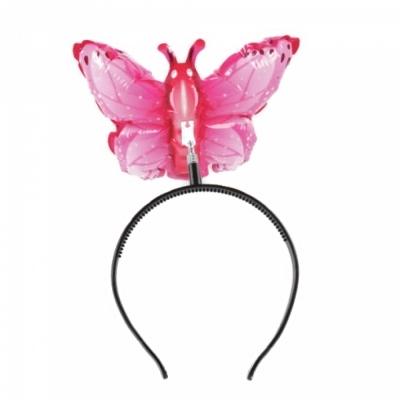 컬러룬 헤어밴드 풍선 나비 (분홍)