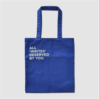 All Writes Canvas Bag-Blue
