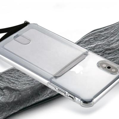 아이폰8플러스/7플러스 겸용 카드포켓 TPU범퍼 핸드폰 목걸이 스트랩케이스