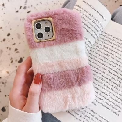 아이폰11 파스텔패턴 토끼털 에코퍼 윈터 겨울 폰케이스