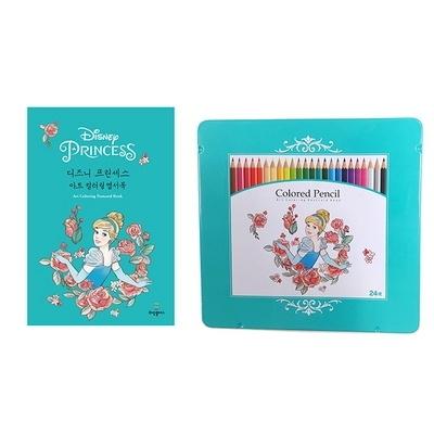 디즈니 신데렐라 컬러링 엽서북과 24색 색연필 세트