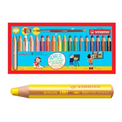 스타빌로 우디 3IN1 색연필 18색세트 (샤프너포함)
