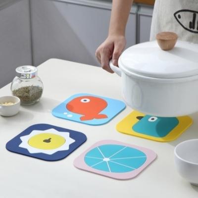 카툰 실리콘 냄비받침 식탁매트