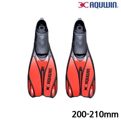 아쿠윈 수영 오리발 파워킥 롱핀 (30.32) (200-210mm) (Red) (ASF04)
